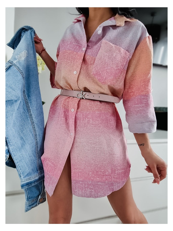 Dámske košeľové šaty Rainbow - ružové