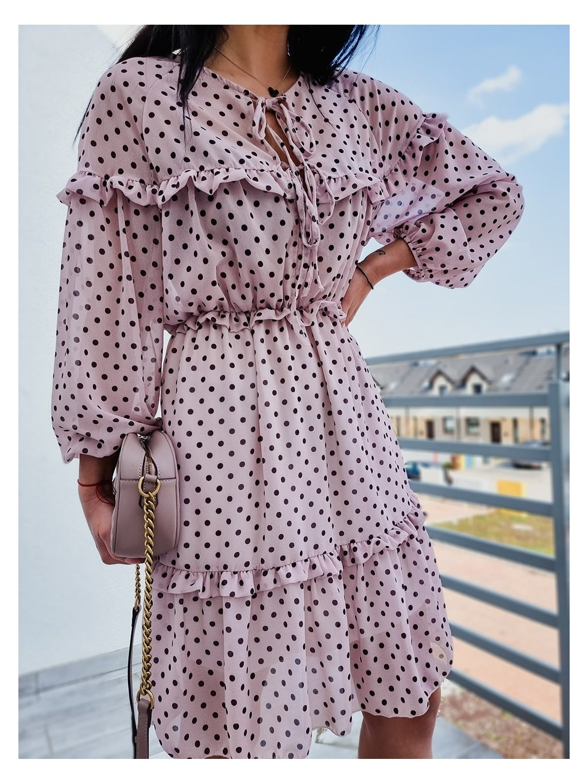 Dámske šaty Dots Long - ružové