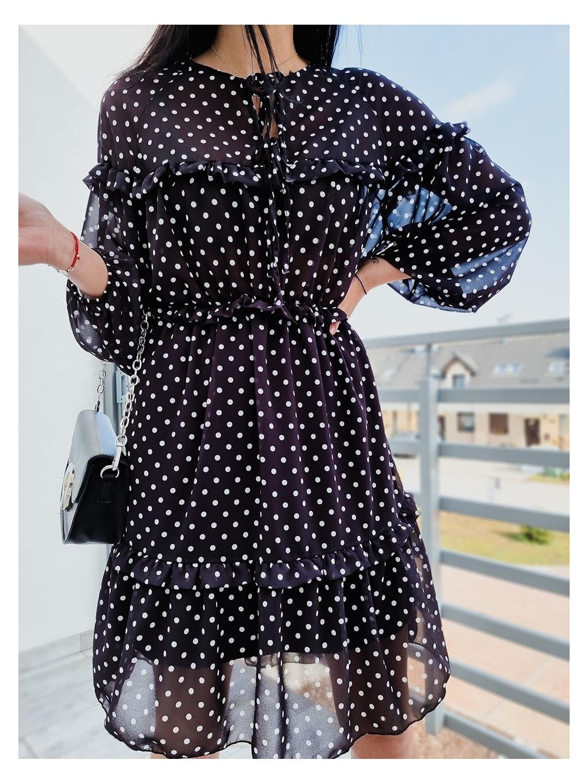 Dámske šaty Dots Long - čierne