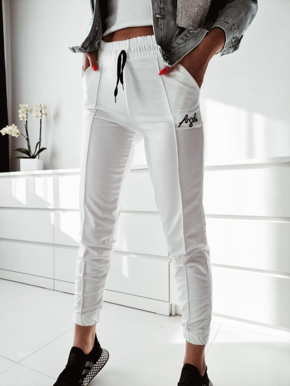 Teplákové nohavice Angel - biele