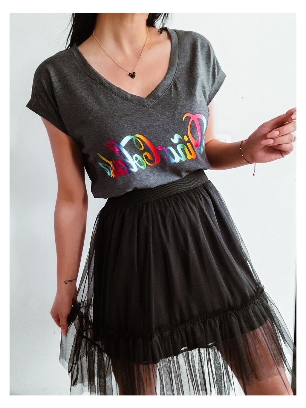 Bavlnené tričko Pina colada - tmavosivé