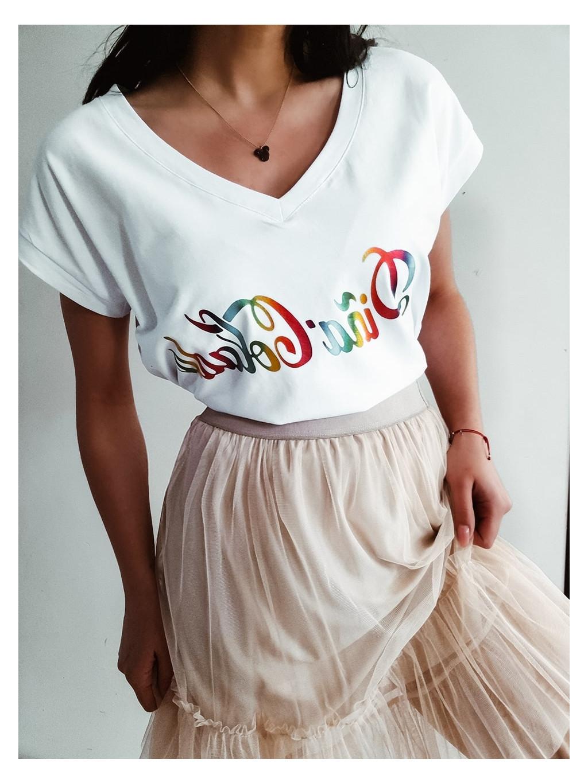 Bavlnené tričko Pina colada - biele