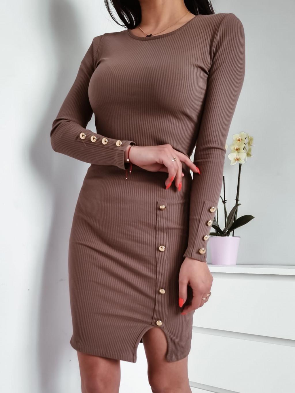 Vrúbkované šaty Amanda - hnedé