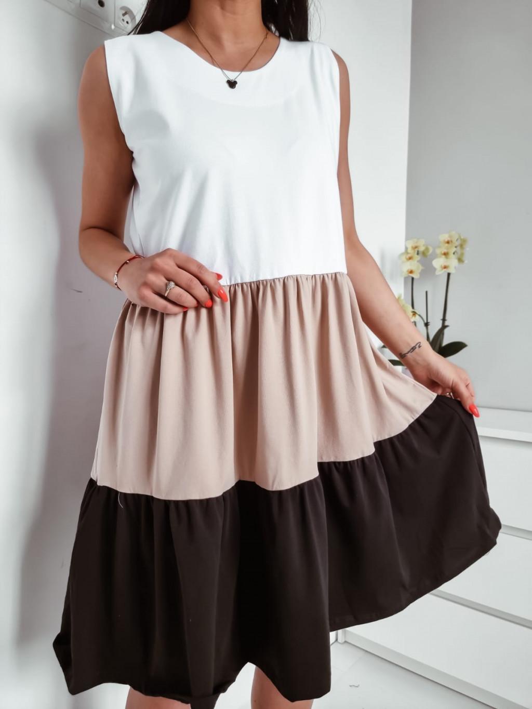 Šaty bez rukávov Grace - bežovo čierne