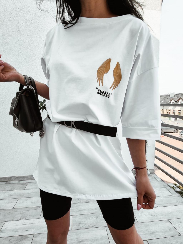 Dámske predĺžené tričko Angels - biele