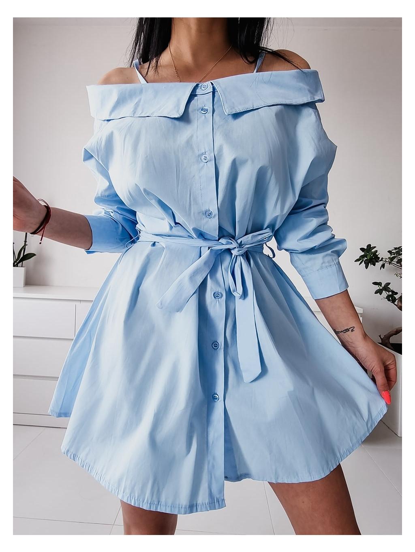 Dámske košeľové šaty Melinda - modré