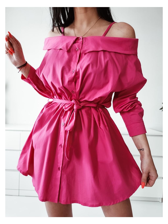Dámske košeľové šaty Melinda - fuchsiové