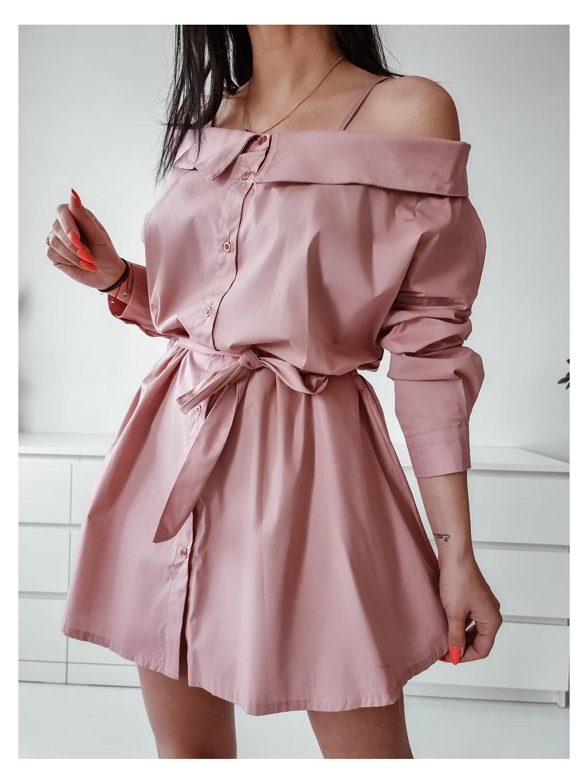 Dámske košeľové šaty Melinda - ružové