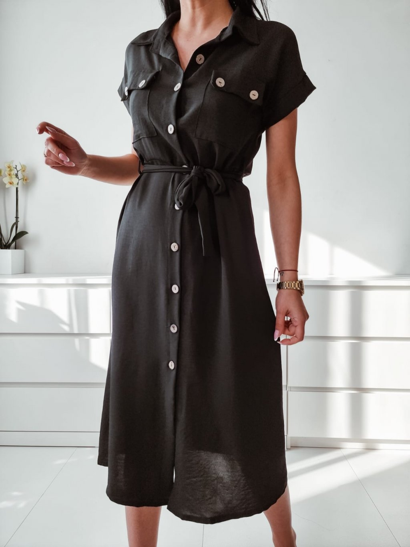 Dámske košeľové šaty Leya - čierne