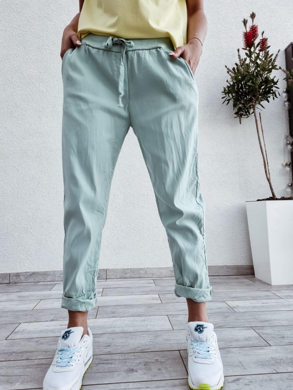 Dámske bavlnené nohavice Imagine -mätové