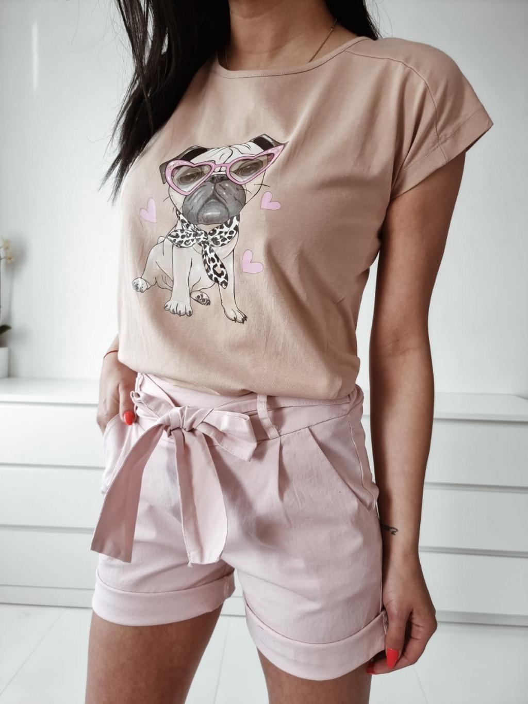 Dámske bavlnené tričko Buldog - bežové