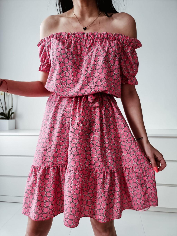 Dámske riasené šaty Liana - ružové