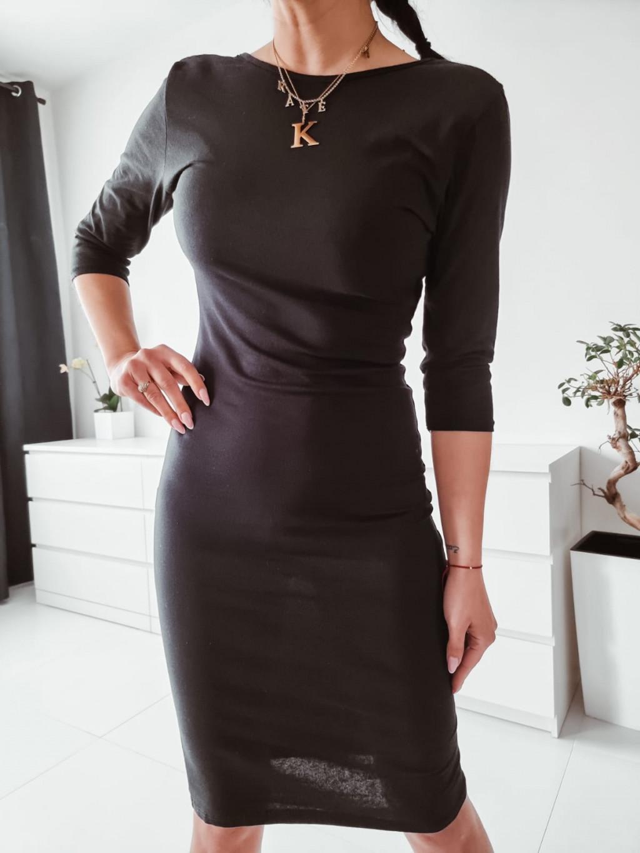 Dámske šaty s 3/4 rukávom - čierne