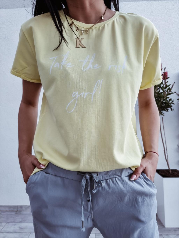 Dámske tričko Risk Girl - žlté