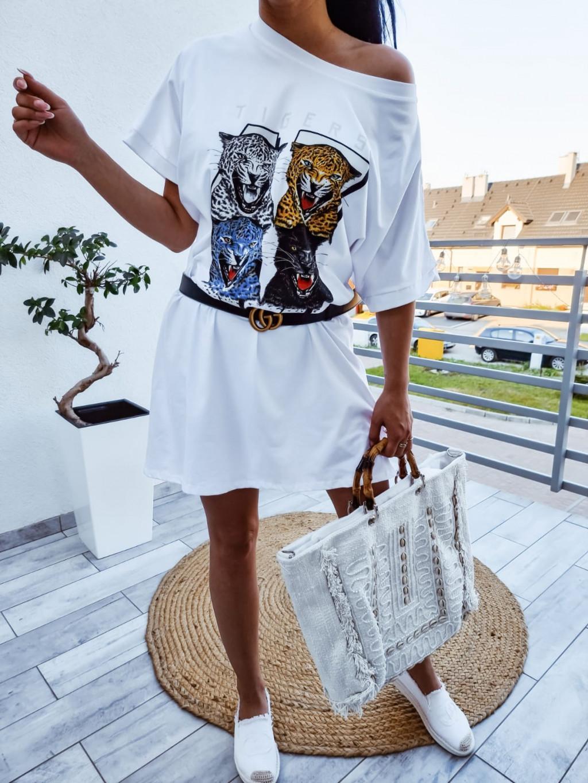 Oversize tunikové šaty Tiger - biele
