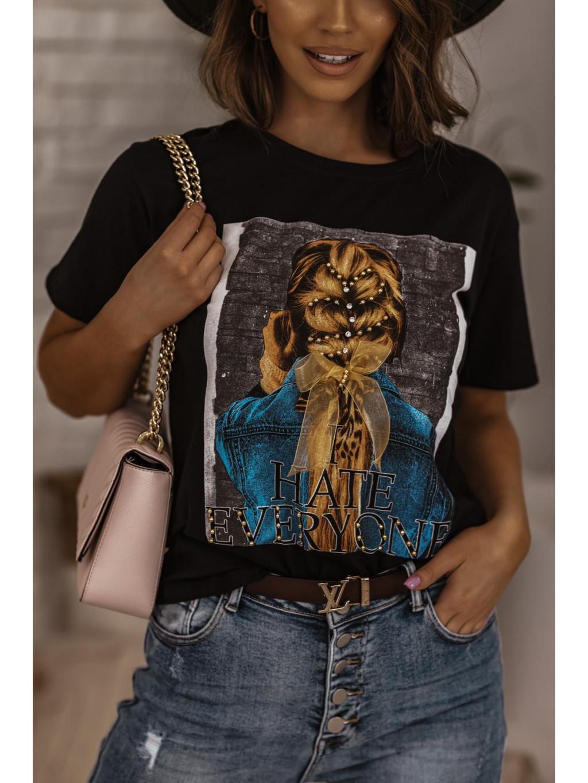 Bavlnené tričko s potlačou Hair - čierne