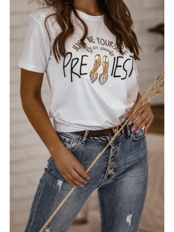 Bavlnené tričko s potlačou Shoes - biele