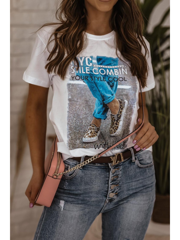 Bavlnené tričko s potlačou Denim - biele