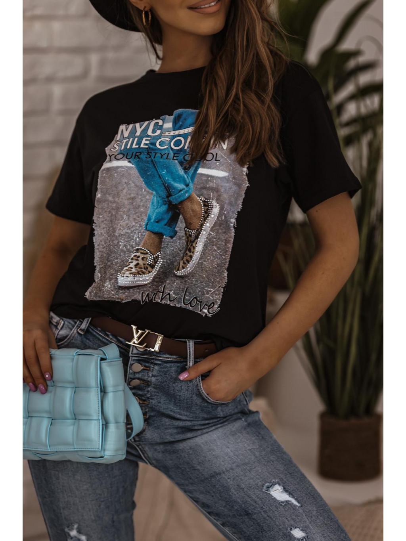 Bavlnené tričko s potlačou Denim - čierne