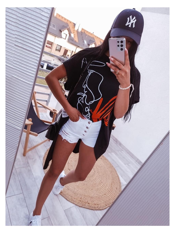 Asymetrická oversize tunika Face - čierna