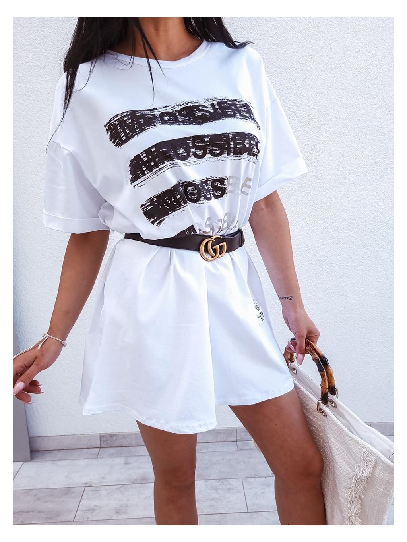 Bavlnené tunikové šaty Impossible - biele