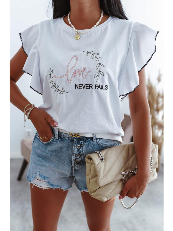 Dámske tričko s volánmi Fancy - biele