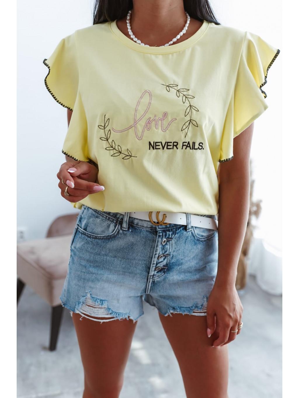 Dámske tričko s volánmi Fancy - žlté