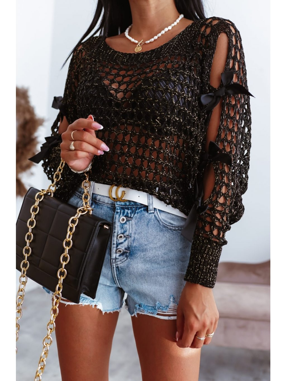 Perforovaný sveter s mašľou - čierny