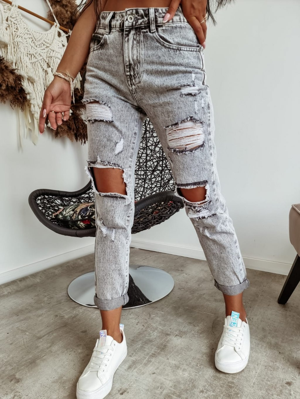 Potrhané Mom jeans ZB3022 - sivé