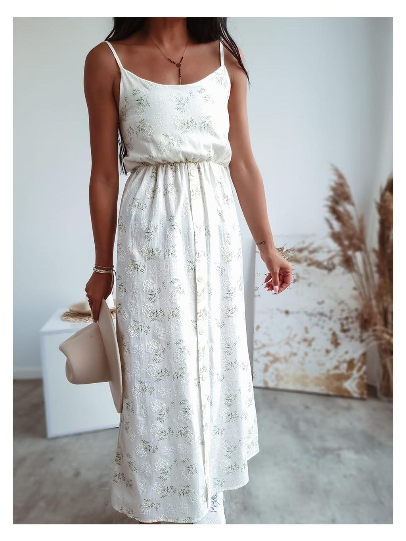 Dlhé bavlnené šaty Camelia - ecru