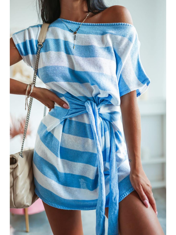 Tunikové šaty s krátkym rukávom Lujza - modré
