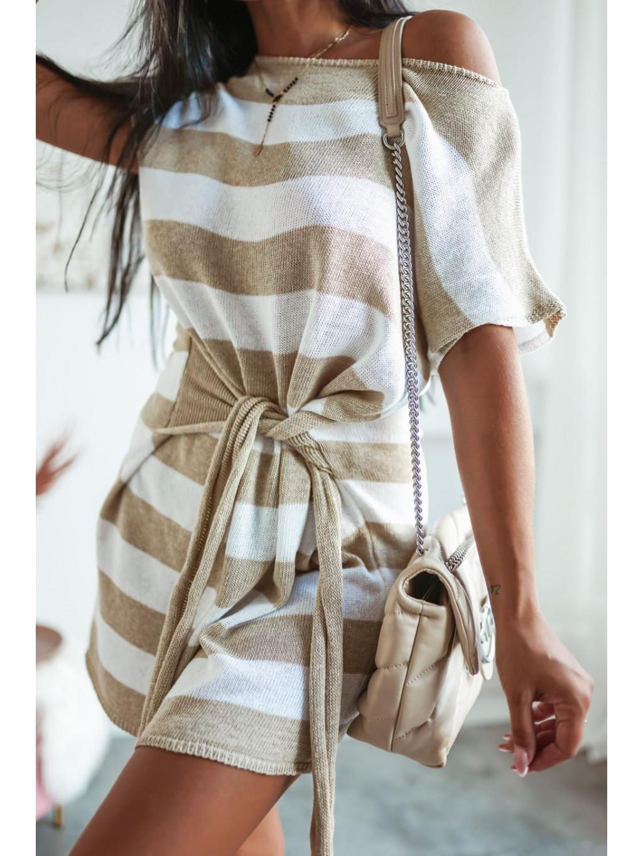 Tunikové šaty s krátkym rukávom Lujza - bežové