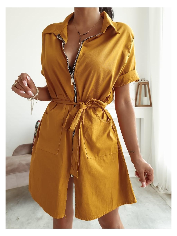 Horčicové šaty so zipsom Rebeka