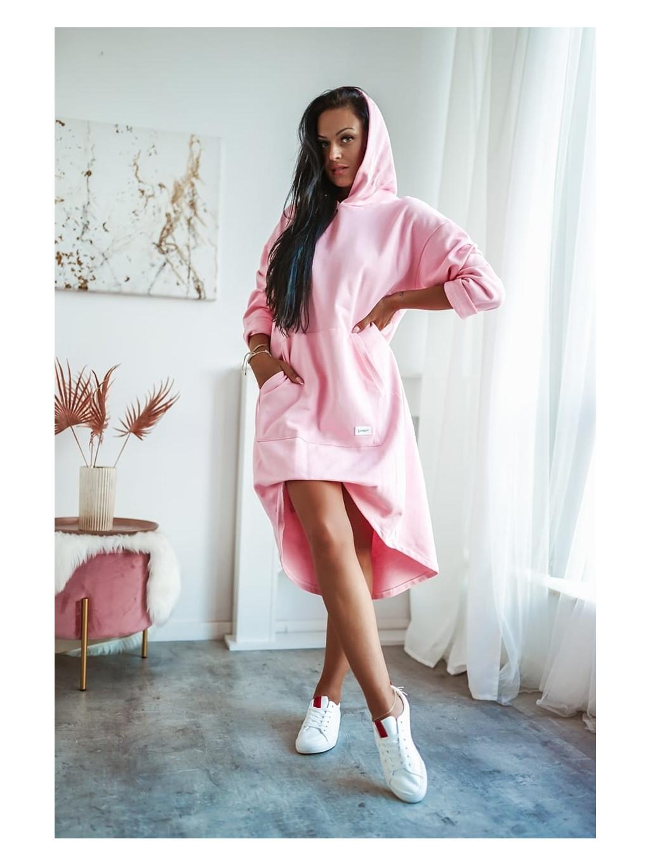 Dámska dlhá mikina s kapucňou Miss City - ružová