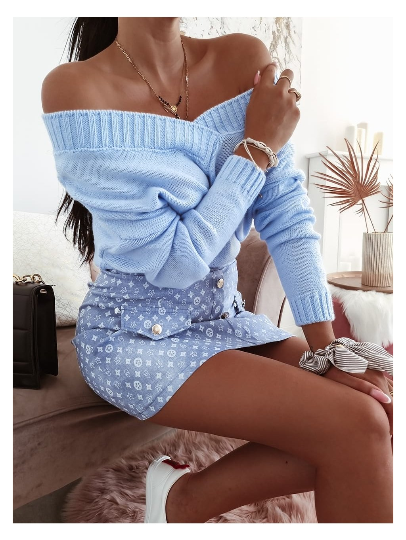 Dámsky basic sveter - modrý