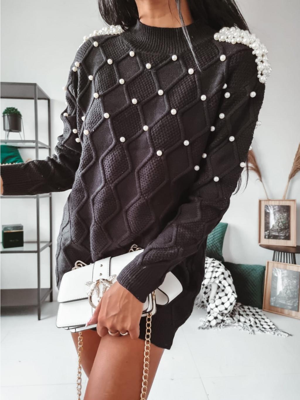 Dámsky predĺžený sveter Pearls - čierny