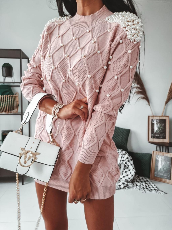 Dámsky predĺžený sveter Pearls - ružový
