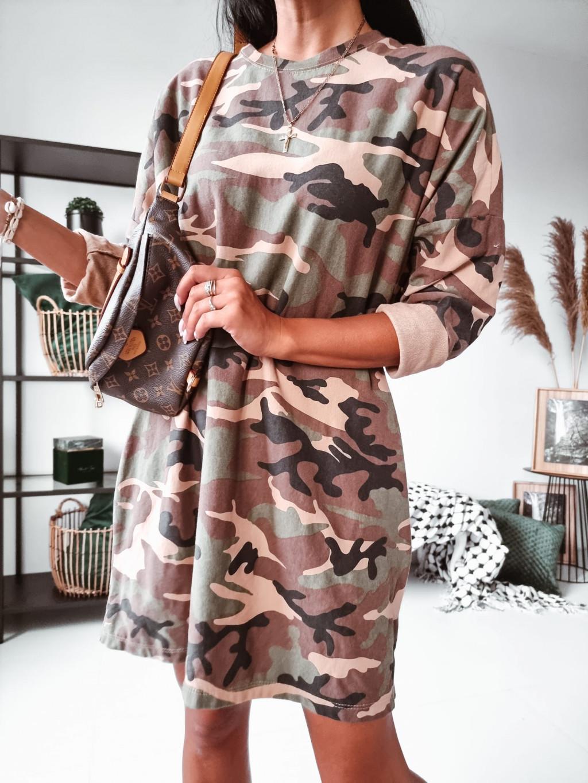 Tunikové Army šaty - bežové