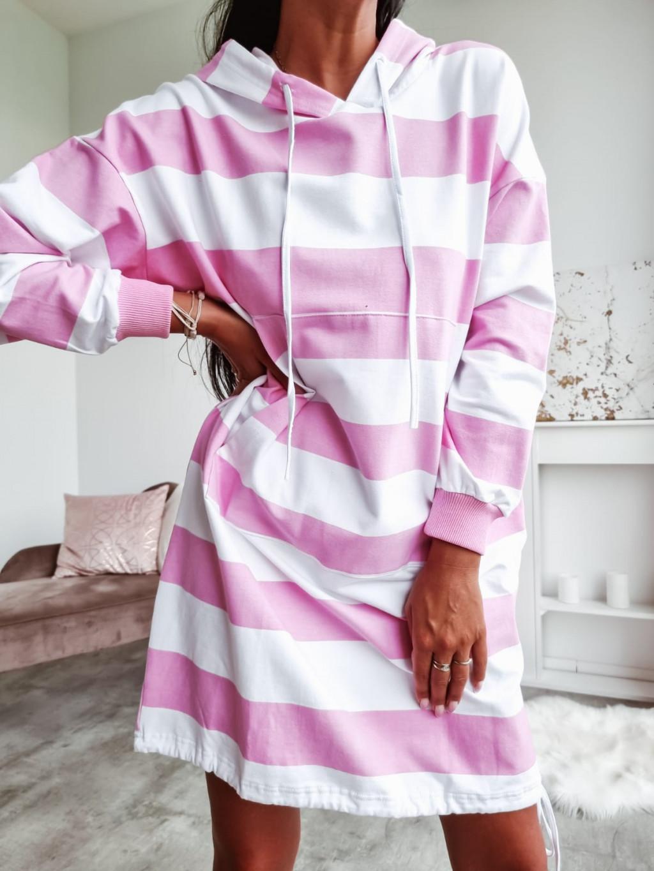 Mikinové šaty s kapucňou Lina - ružové