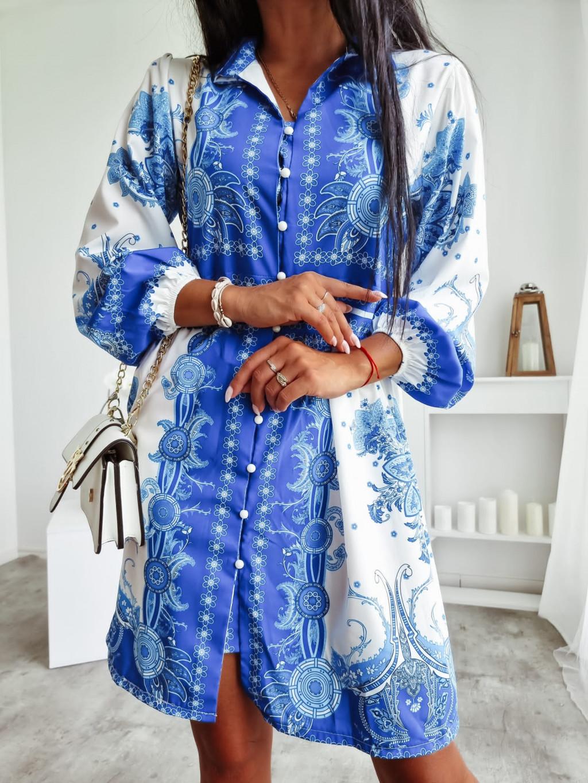 Košeľové šaty s dlhým rukávom Nadir - modré