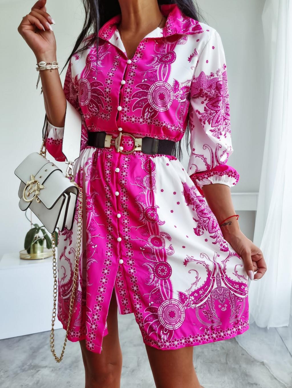 Košeľové šaty s dlhým rukávom Nadir - fuchsiové