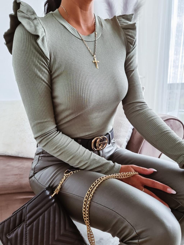 Volánový top s dlhým rukávom Casey - khaki