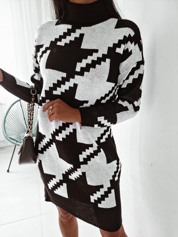 Vzorované rolákové šaty Daisy Black - biele