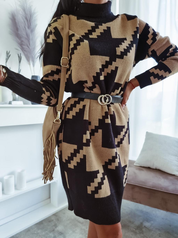 Vzorované rolákové šaty Daisy Black - hnedé