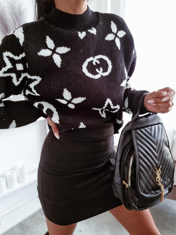 Dámsky vzorovaný sveter Liberty - čiernobiely