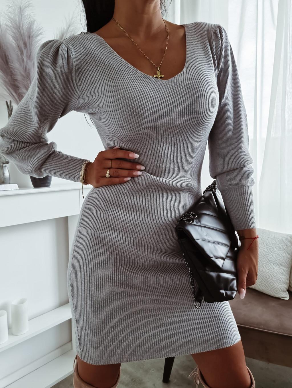Úpletové šaty Felice - sivé