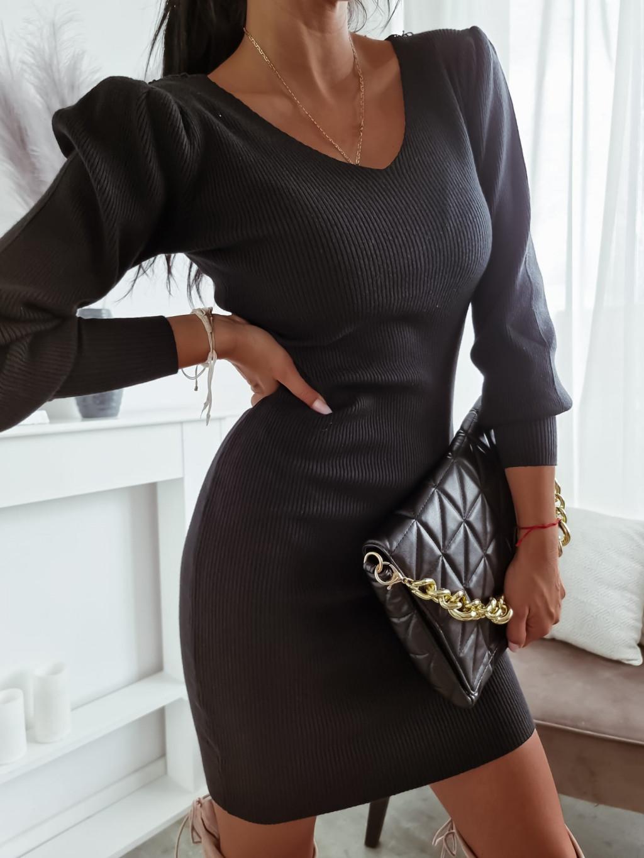 Úpletové šaty Felice - čierne