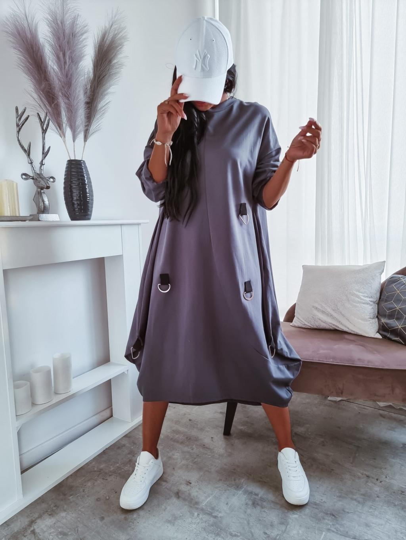 Teplákové oversize šaty Paula - sivé