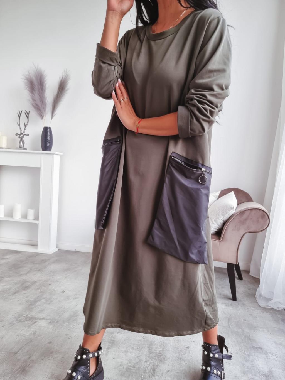 Teplákové oversize šaty Perry - khaki