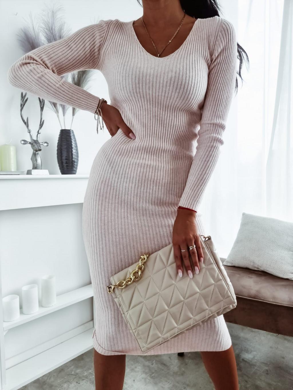 Úpletové šaty s dlhým rukávom Angelo - bledoružové